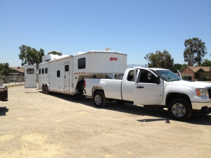 32' horse trailer with living quarters pulled by new GMC 2500 diesel.