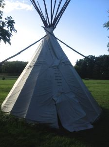 you can camp in the teepee if you want to, but its a grass floor (not like the luxurious one in Malibu I was in with Carolyn!)
