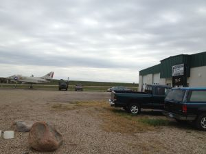 gas stop with Military Museum and a fighter jet